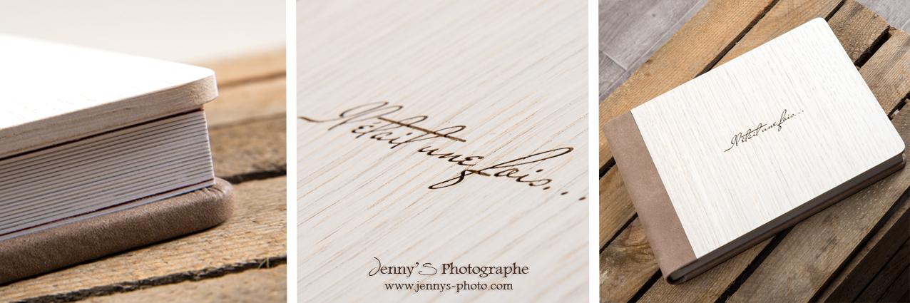 Livre album graphistudio avec couverture lixe bois et dos cuir séquoia